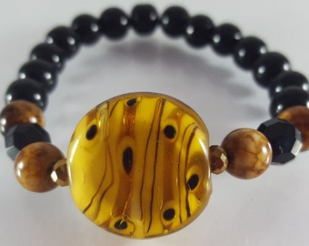 Leopard and Black Glass with Jasper