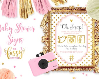 Baby Shower Hashtag Sign, Hashtag Sign, Baby Shower or Bridal Shower, Social Media Instagram Twitter Facebook, Printable, Pink and Gold