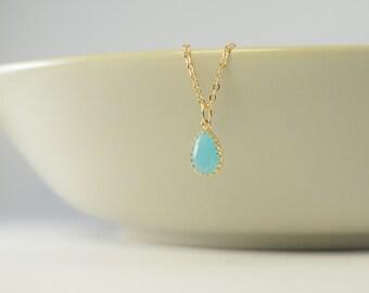 mint gold necklace, mint necklace, mint bridesmaid necklace, gold plated 2 micron, bridesmaid gift, gold necklace blue stone mint bridesmaid