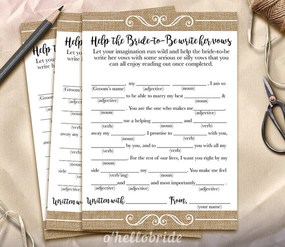 Help The Bride-to-Be Write Her Vows Bridal Shower Game