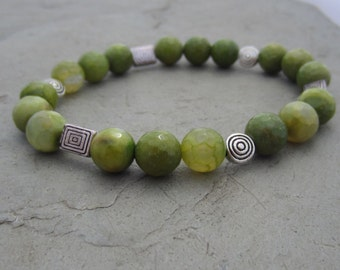 Mossy Green Agate and Pewter Stretch Bracelet
