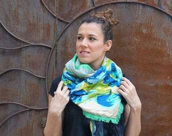 Shawl made using vintage silk scarfs - green