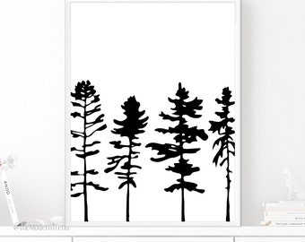 Tree Print, Tree Wall Art, Forest Print, Forest Art, Black and White Art, Rustic Printable, Camp Print, Wilderness Art, Printable Wall Art