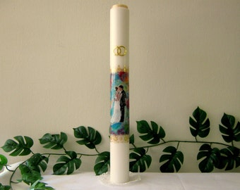 Wedding, candle,ceremony,unique,handmade, painted