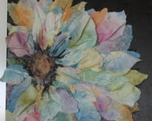 Abstract Floral Print Three Dimensional Flower Cindy's Find  Tissue Collage Paper Wall Art
