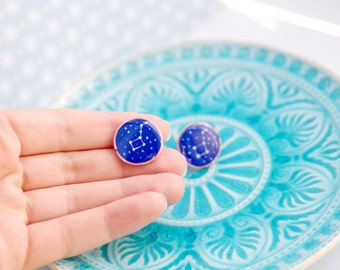 big dipper earring, Ursa major earrings, star earrings,christmas earrings, galaxy jewelry, polymer clay stud earrings, constellation