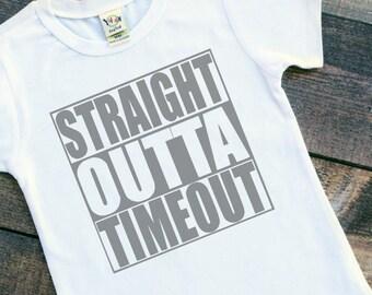 Toddler boys straight outta timeout baby bodysuit tshirt shirt