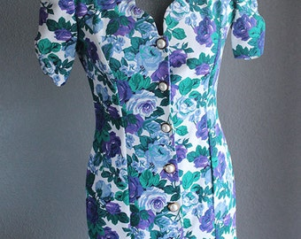 Womens Vintage Floral Dress, Classic Dress, Tulip Sleeves, Blue & Purple, Timely Trends, Size 5/6