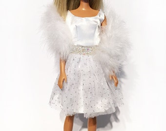 White dress with feather boa