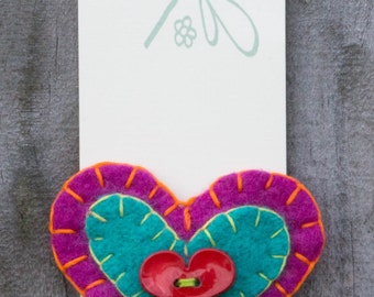 Upcycled Wool Felt Heart Hair Barrette Clip
