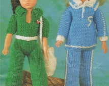 PDF Dolls Clothes Knitting Pattern : 12 inch dolly . Sindy . Track Suit . Leisure / Jogging Suit . Instant Digital Download