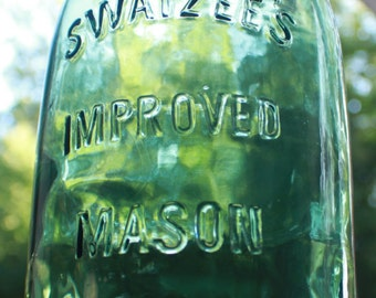 Swayzee's Improved Mason Jar - Half Gallon - Beautiful and Rare Green Color With Swirl
