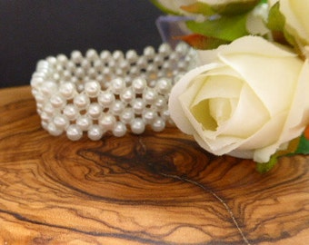 Corsage Bracelet - Emily, pearls, Prom, Wedding,