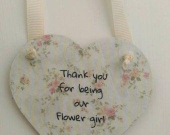 Flower girl gift, wedding gift, keepsake, thank you gift, hanging heart, shabby chic gift, rustic home decor,