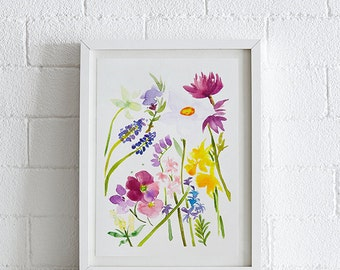 Hellebores, Daffodils, Hyacinth, Periwinkle and Muscari Watercolor painting, Flowers, Floral Print, Printable art, Instant Download