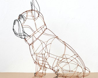 wire sculpture of a French bulldog