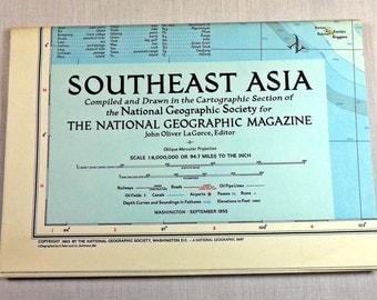 1955 National Geographic map of Southeast Asia - very good condition