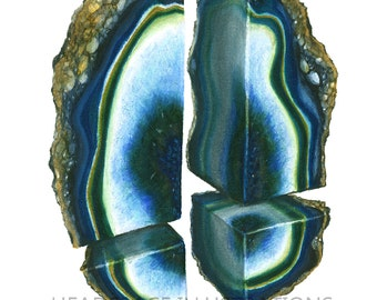 Split Blue Geode Art with Hand Painted Gold Print - Colored Pencil Art by Headspace Illustrations