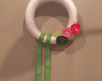 Pink, Coral, Hunter Green and Lime Green Yarn Wrapped Felt Flower Wreath Hair Bow Holder.