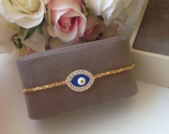 50% OFF - evil eye bracelet - gold plated evil eye bracelet - gold evil eye bead bracelet - blue evil eye charms - adjustable bracelet