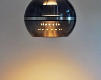 Mid Century Modern Large Dijkstra Holland Smoked Plastics Pendant Hanging Lamp