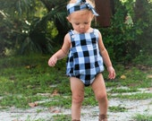 Buffalo Plaid Hipster Bubble Romper, Black & White Flannel Toddler Girl, Matching Brother Sister Set, Summer Baby Bodysuit Crossback Sunsuit