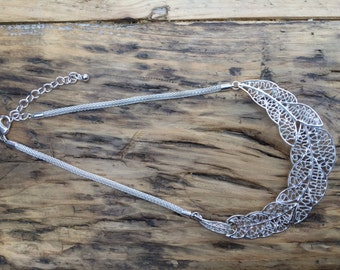 Leaf Design Statement Bib Necklace