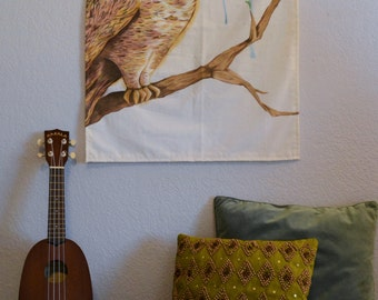 Great Horned Owl Watercolor Tapestry