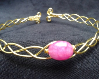 Pink quartz wire plaited bracelet