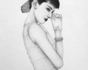 Audrey Hepburn 2012 pencil drawing