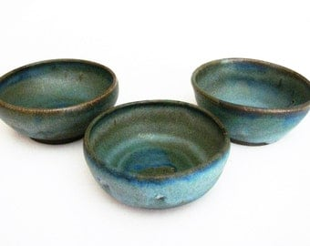 Handmade Pottery Blue Rustic Dip Bowl, Ceramic Blue Side Bowl Condiment Dish Stoneware Dip Bowl, Matte Blue Side Bowl -Sold Separately-