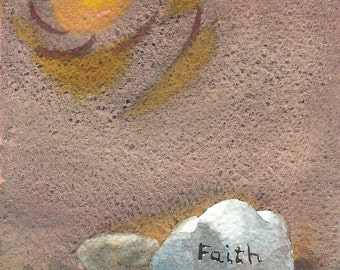 Faith Inspirational Rock Fine Art Giclee Print, Faith, 5 x 7 Print of Original Watercolor Painting