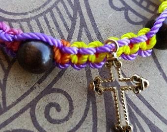 Cross Charm Bracelet with Beads on Adjustable Nylon Thread