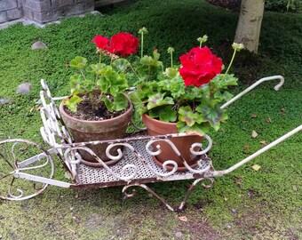 Antique French Garden Wheelbarrow - Antique French Metal Garden Wheelbarrow, Garden Display, Garden Object, Garden Art, Garden Ornament