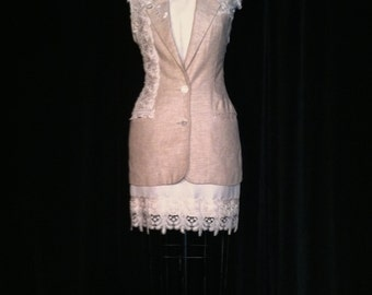 champagne linen and white silk reconstructed suit eco fashion