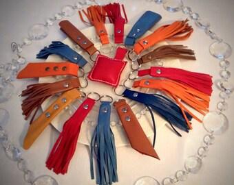 "Key ring ""Tassels"" lambskin leather"
