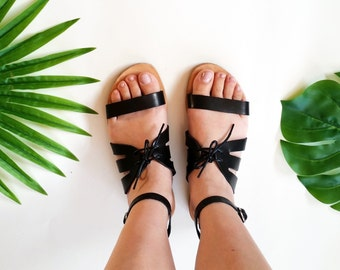 Greek sandals by Almyra / leather sandals / handmade sandals / gladiator sandals / lace sandals / women sandals / boho sandals