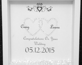 Personalised Entwined Hearts Wedding Frame