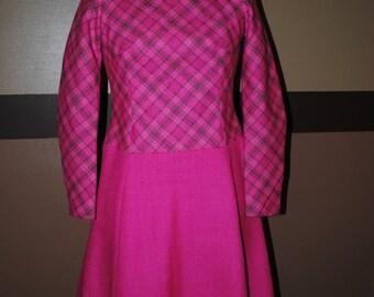 1960 pink wool dress