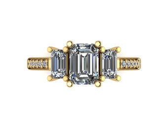 Emerald Cut Moissanite Ring in 9 Carat Yellow or White Gold