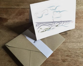 Set of blank cards featuring the Susquehanna River and Columbia-Wrightsville Bridge
