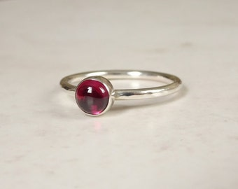 Sterling Silver Rhodolite Garnet Stacking Ring