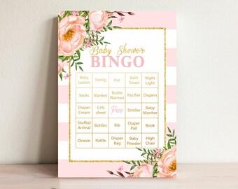 Baby Shower Bingo, Baby Bingo game,  Printable bingo card, Instant baby bingo, Baby shower activities, Games printable, Pink-3