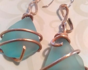 Copper wrapped recycled blue glass earrings