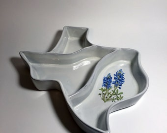 Texas Shaped Serving Dish with Bluebonnets by Frankoma