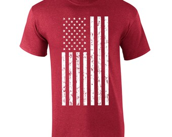 American Flag america USA pride veteran fourth of july memorial day military vintage retro - Apparel Clothing - Mens T-shirt - 218