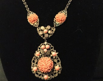 "16"" vintage coral necklace"