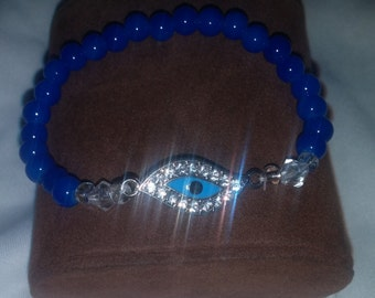 Evil Eye blue beaded bracelet