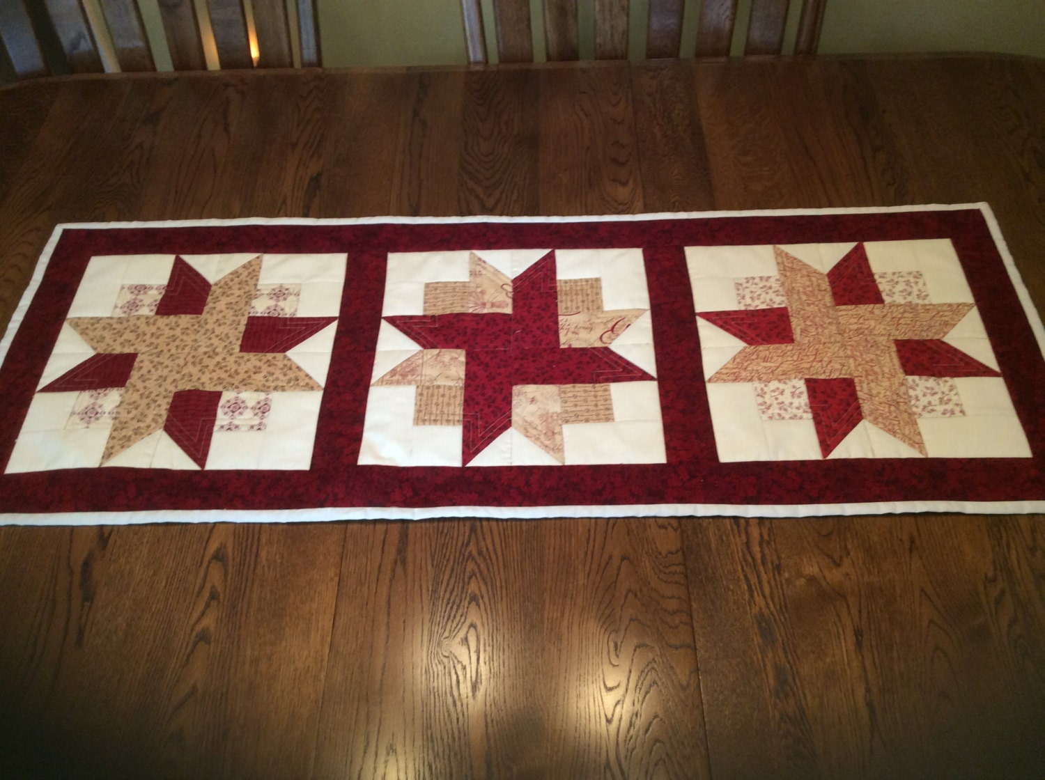 Handmade quilted country table runner in cranberry and beige for 102 table runner