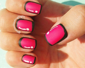 Handpainted Pink matte cartoon square Fake press on nails